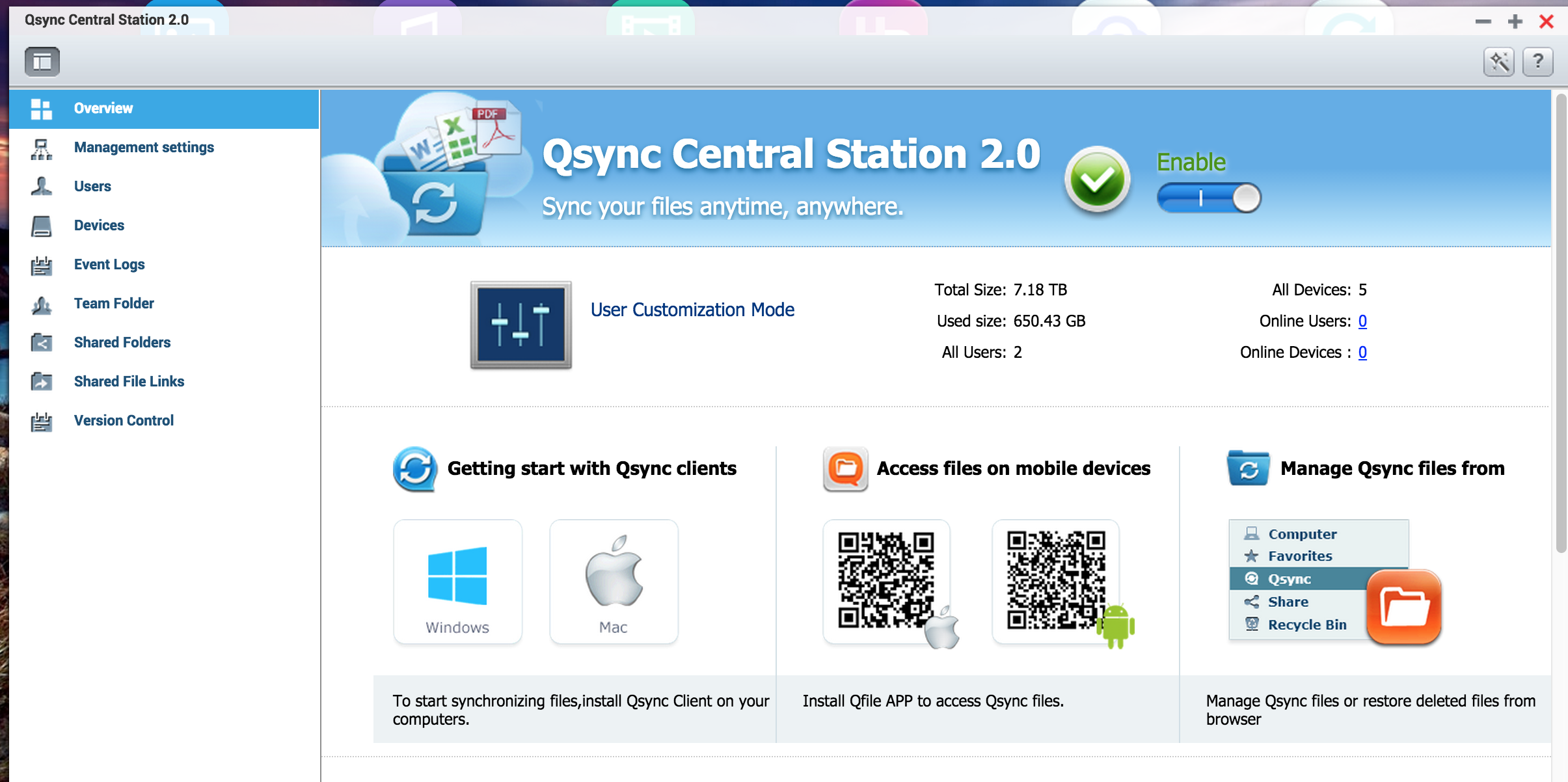 Use Qsync to sync files across multiple locations and